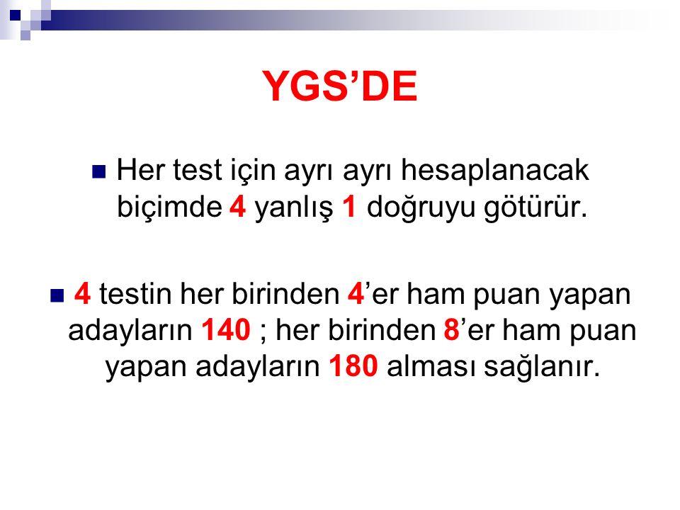 YGS'DE Her test için ayrı ayrı hesaplanacak biçimde 4 yanlış 1 doğruyu götürür.