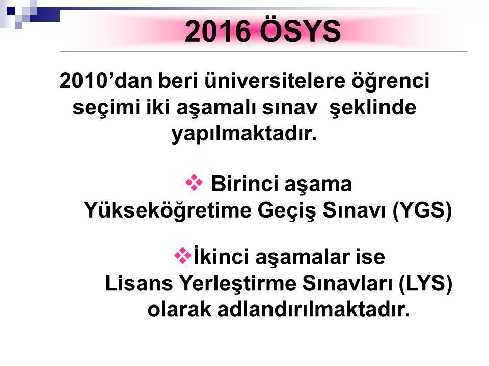 2016 ÖSYS 2010'dan beri üniversitelere öğrenci seçimi iki aşamalı sınav şeklinde yapılmaktadır. Birinci aşama.