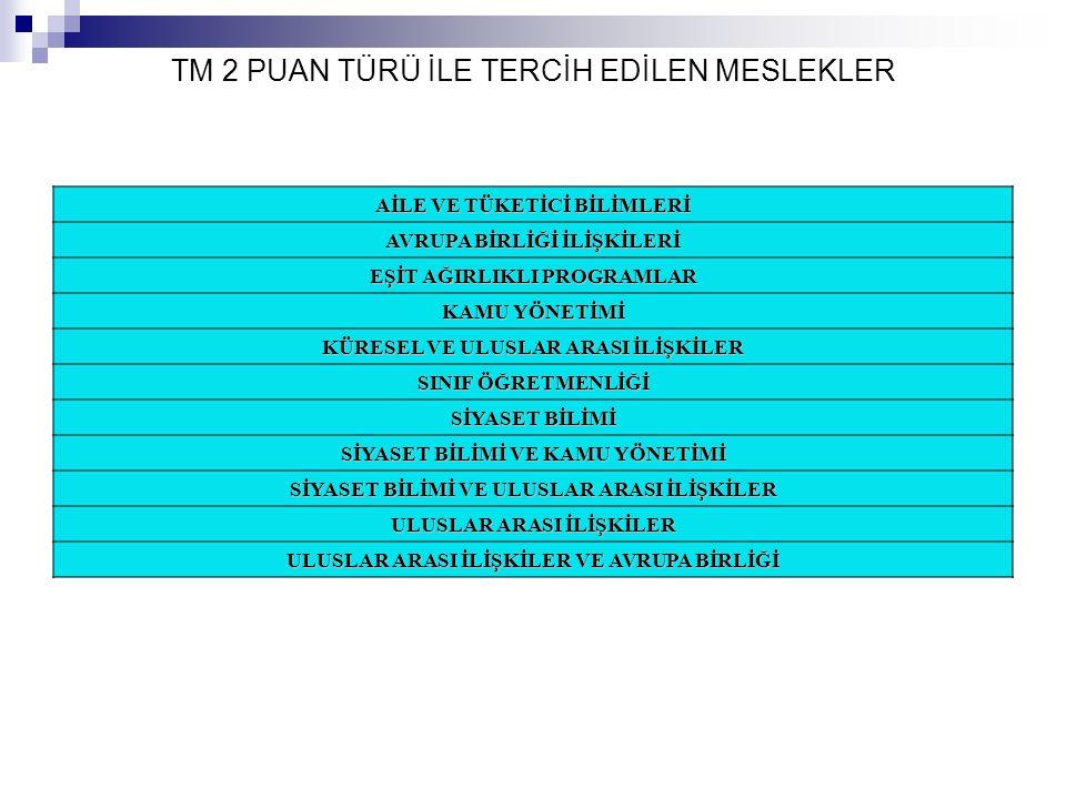 TM 2 PUAN TÜRÜ İLE TERCİH EDİLEN MESLEKLER
