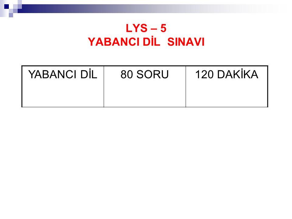LYS – 5 YABANCI DİL SINAVI
