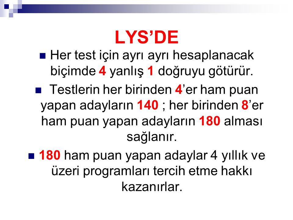 LYS'DE Her test için ayrı ayrı hesaplanacak biçimde 4 yanlış 1 doğruyu götürür.