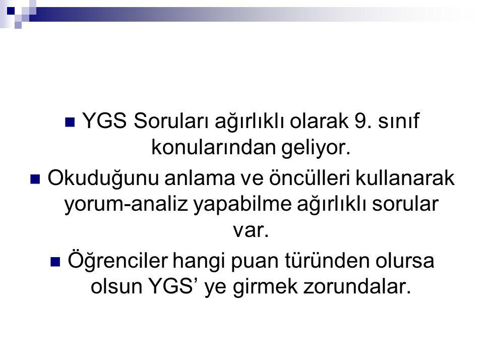 YGS Soruları ağırlıklı olarak 9. sınıf konularından geliyor.