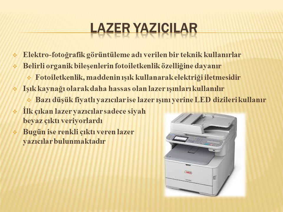 Lazer YazIcIlar Elektro-fotoğrafik görüntüleme adı verilen bir teknik kullanırlar. Belirli organik bileşenlerin fotoiletkenlik özelliğine dayanır.