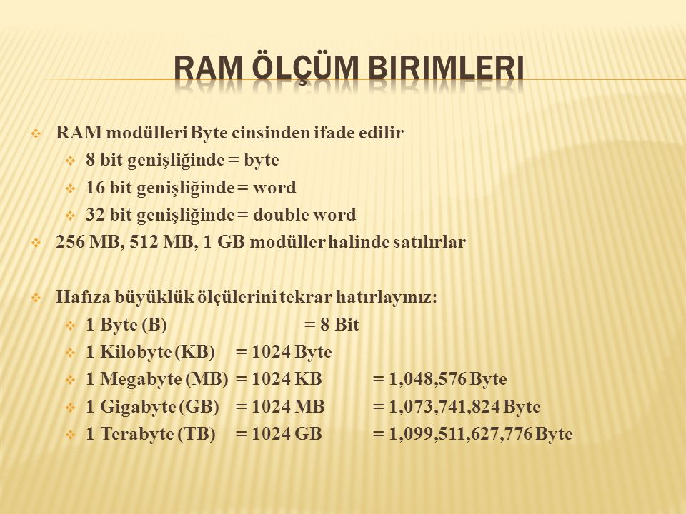 RAM Ölçüm Birimleri RAM modülleri Byte cinsinden ifade edilir