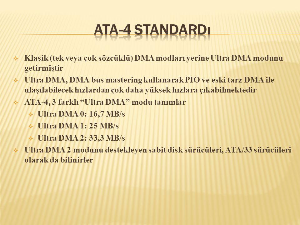 ATA-4 Standardı Klasik (tek veya çok sözcüklü) DMA modları yerine Ultra DMA modunu getirmiştir.