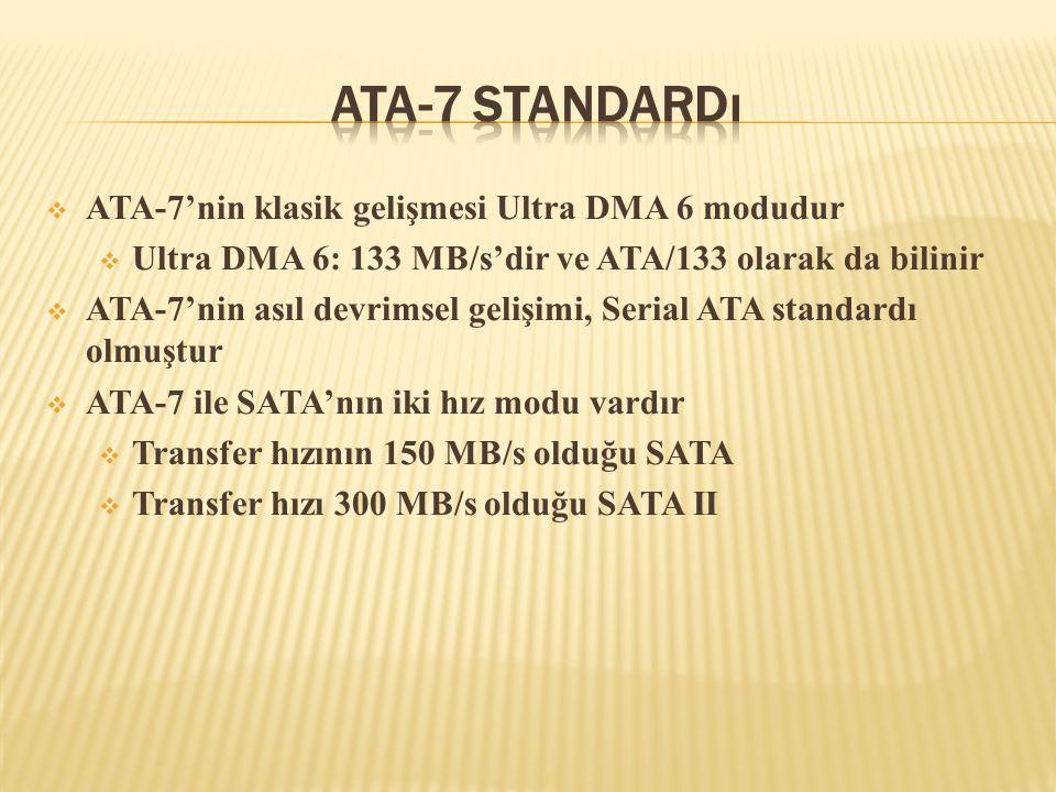 ATA-7 Standardı ATA-7'nin klasik gelişmesi Ultra DMA 6 modudur