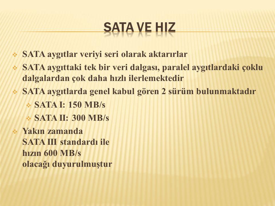 SATA ve HIz SATA aygıtlar veriyi seri olarak aktarırlar
