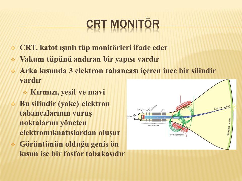 CRT Monitör CRT, katot ışınlı tüp monitörleri ifade eder