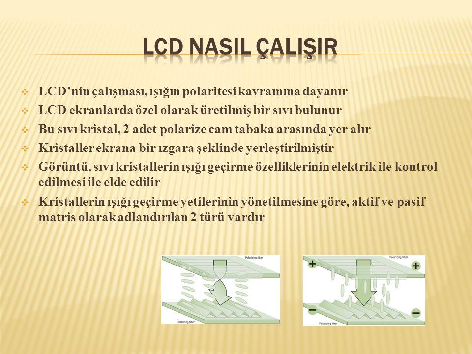 LCD NasIl ÇalIşIr LCD'nin çalışması, ışığın polaritesi kavramına dayanır. LCD ekranlarda özel olarak üretilmiş bir sıvı bulunur.