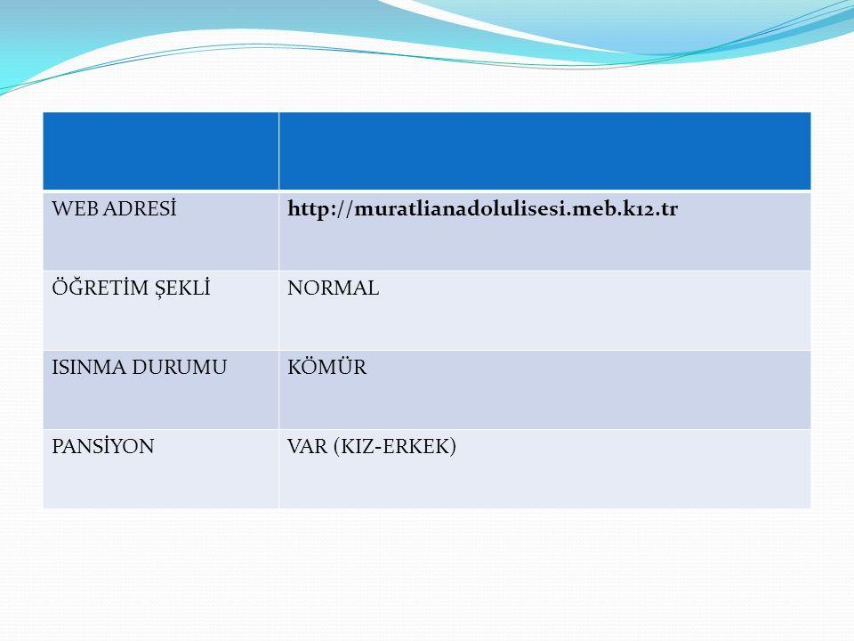 WEB ADRESİ http://muratlianadolulisesi.meb.k12.tr. ÖĞRETİM ŞEKLİ. NORMAL. ISINMA DURUMU. KÖMÜR.