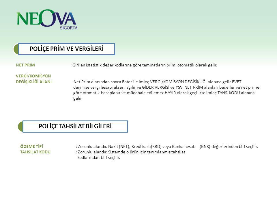 POLİÇE PRİM VE VERGİLERİ POLİÇE TAHSİLAT BİLGİLERİ