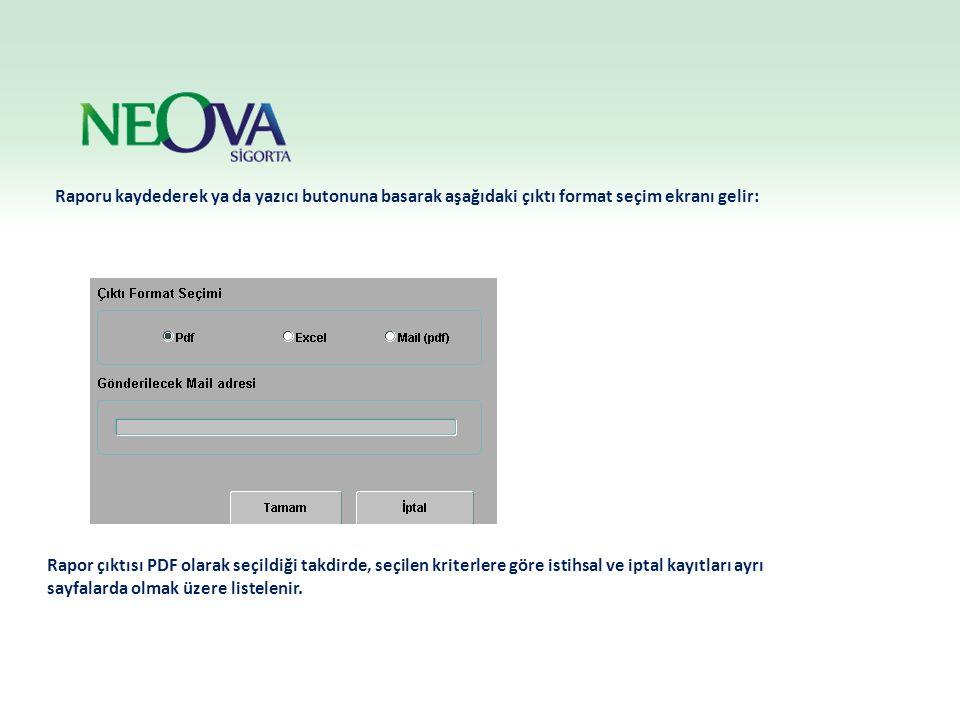 Raporu kaydederek ya da yazıcı butonuna basarak aşağıdaki çıktı format seçim ekranı gelir: