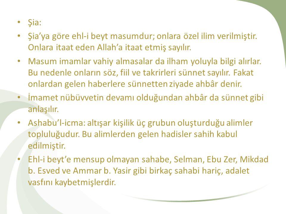 Şia: Şia'ya göre ehl-i beyt masumdur; onlara özel ilim verilmiştir. Onlara itaat eden Allah'a itaat etmiş sayılır.