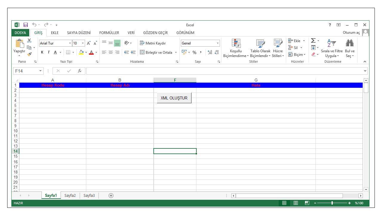 Hesap Planı XML Oluşturma