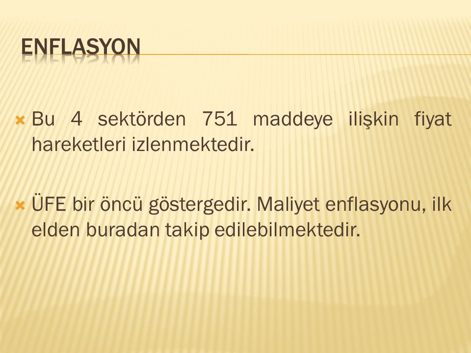 ENFLASYON Bu 4 sektörden 751 maddeye ilişkin fiyat hareketleri izlenmektedir.