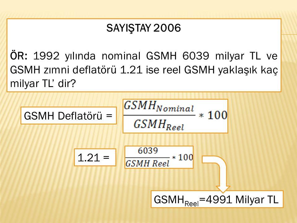 SAYIŞTAY 2006 ÖR: 1992 yılında nominal GSMH 6039 milyar TL ve GSMH zımni deflatörü 1.21 ise reel GSMH yaklaşık kaç milyar TL' dir