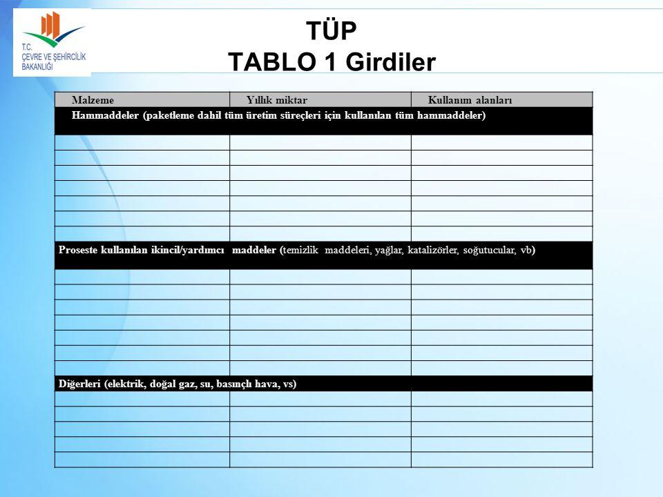 TÜP TABLO 1 Girdiler Malzeme Yıllık miktar Kullanım alanları