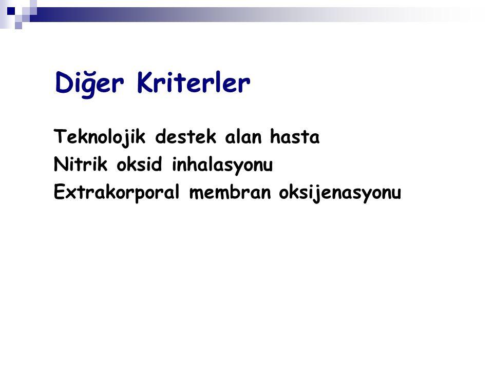 Diğer Kriterler Teknolojik destek alan hasta Nitrik oksid inhalasyonu