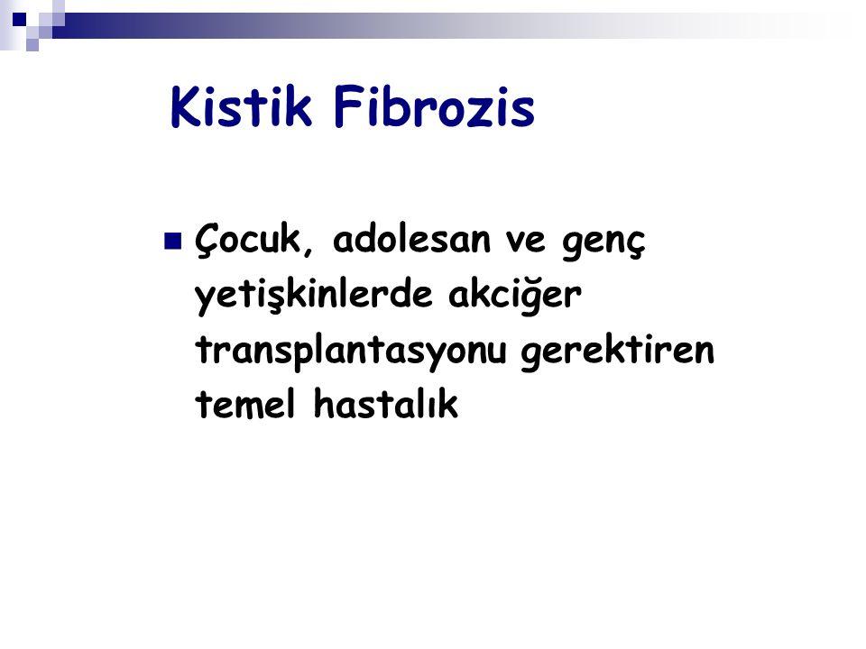 Kistik Fibrozis Çocuk, adolesan ve genç yetişkinlerde akciğer transplantasyonu gerektiren temel hastalık.