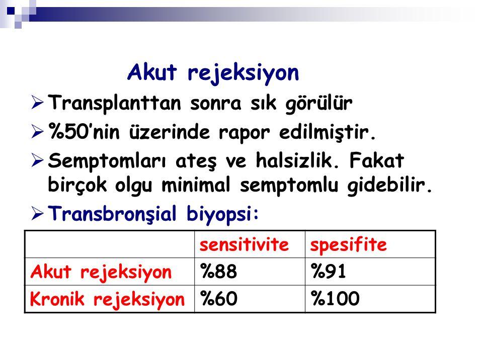 Akut rejeksiyon Transplanttan sonra sık görülür