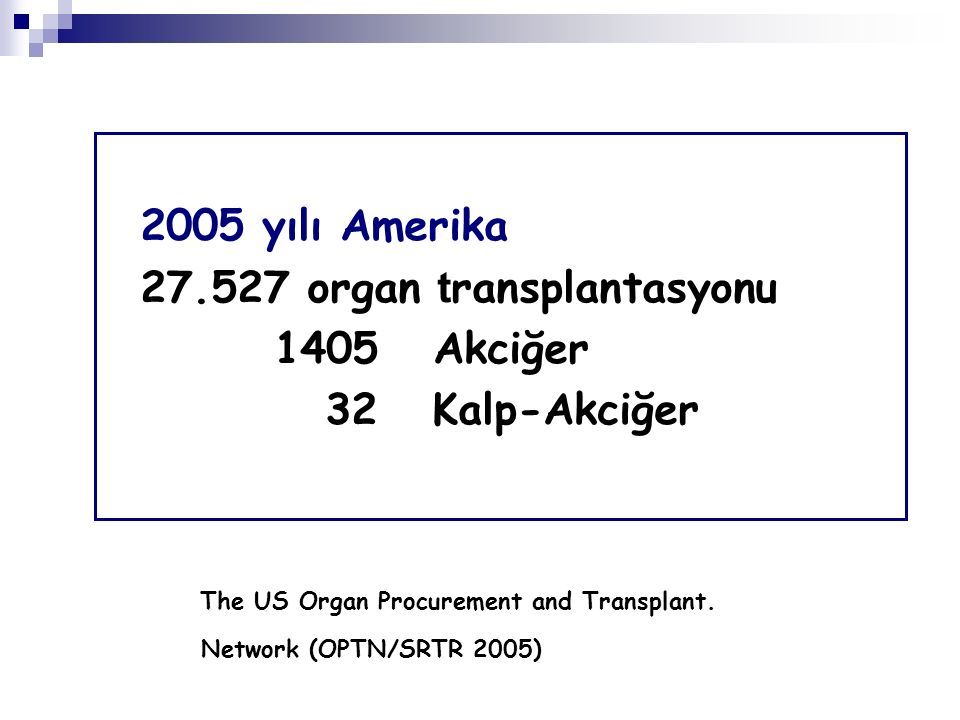 27.527 organ transplantasyonu 1405 Akciğer 32 Kalp-Akciğer