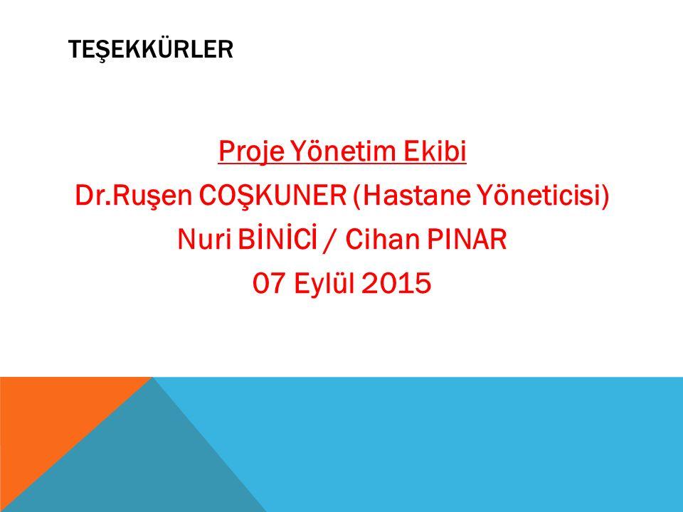 teşekkürler Proje Yönetim Ekibi Dr.Ruşen COŞKUNER (Hastane Yöneticisi) Nuri BİNİCİ / Cihan PINAR 07 Eylül 2015