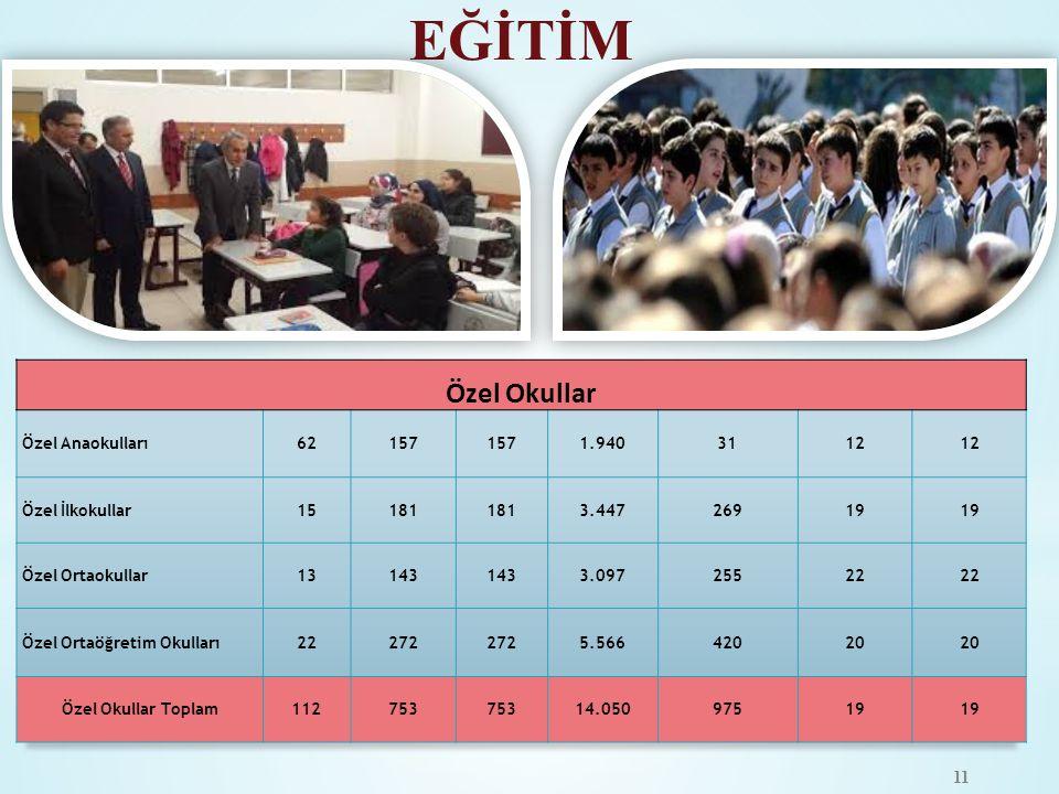 EĞİTİM Özel Okullar Özel Anaokulları 62 157 1.940 31 12