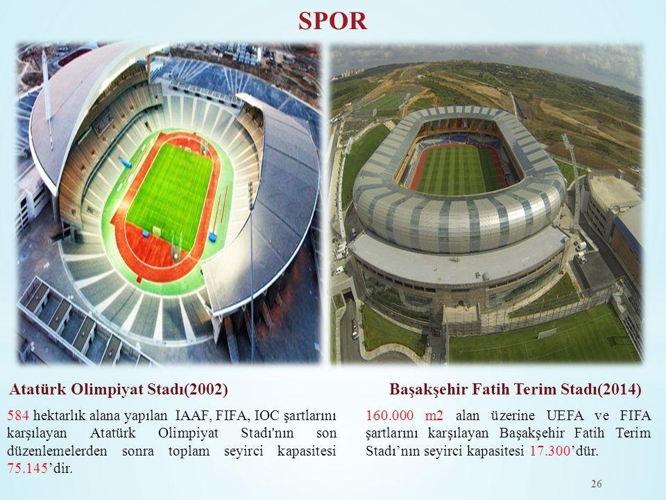 SPOR Atatürk Olimpiyat Stadı(2002) Başakşehir Fatih Terim Stadı(2014)