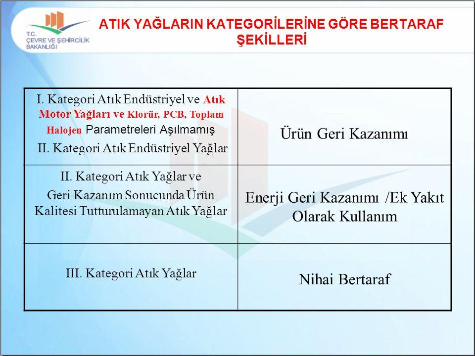 ATIK YAĞLARIN KATEGORİLERİNE GÖRE BERTARAF ŞEKİLLERİ