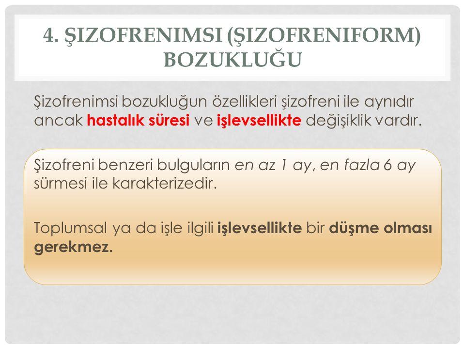 4. Şizofrenimsi (Şizofreniform) Bozukluğu