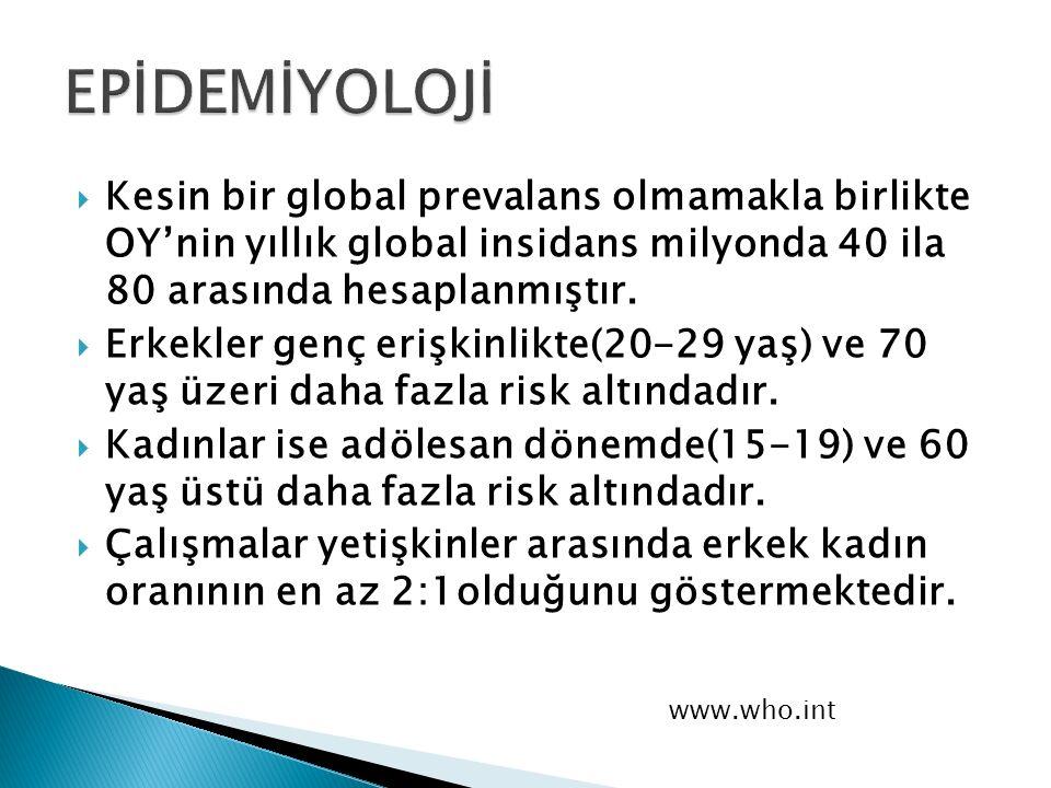 EPİDEMİYOLOJİ Kesin bir global prevalans olmamakla birlikte OY'nin yıllık global insidans milyonda 40 ila 80 arasında hesaplanmıştır.
