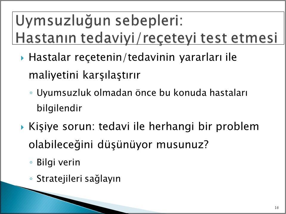 Uymsuzluğun sebepleri: Hastanın tedaviyi/reçeteyi test etmesi