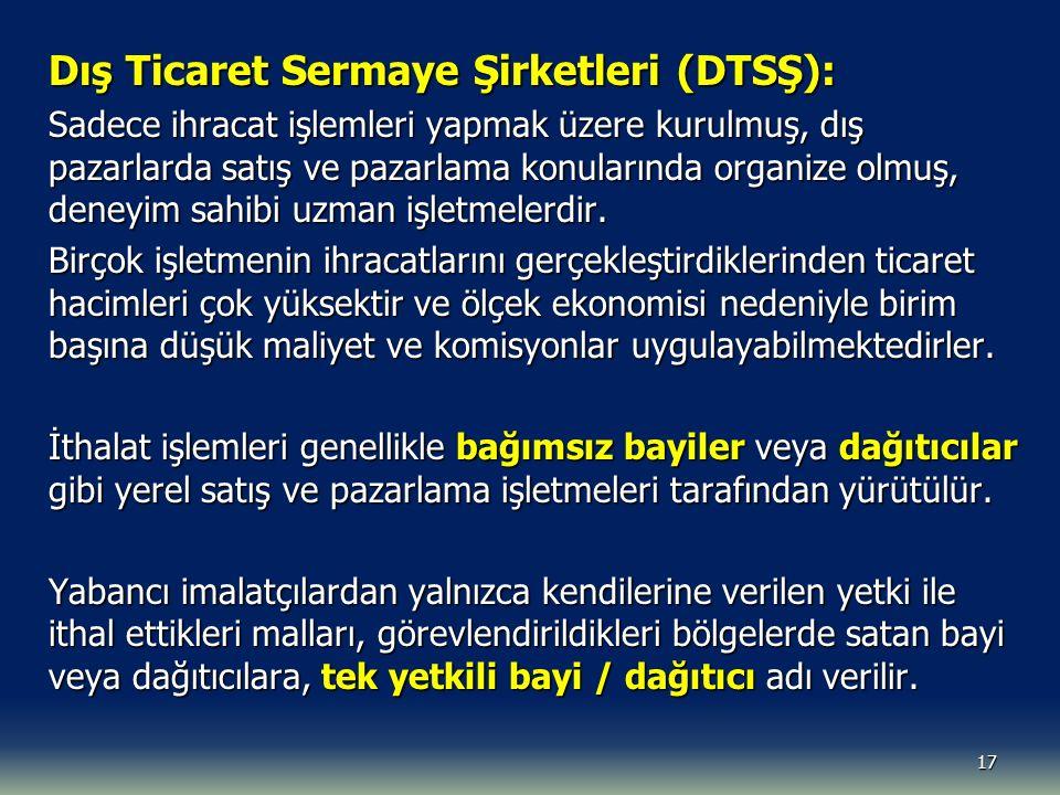 Dış Ticaret Sermaye Şirketleri (DTSŞ):