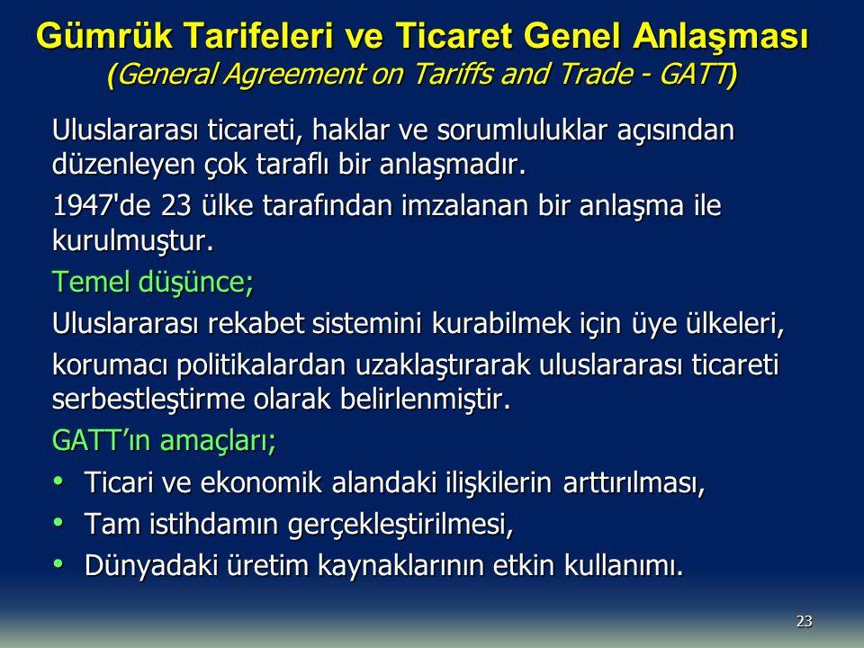 Gümrük Tarifeleri ve Ticaret Genel Anlaşması (General Agreement on Tariffs and Trade - GATT)