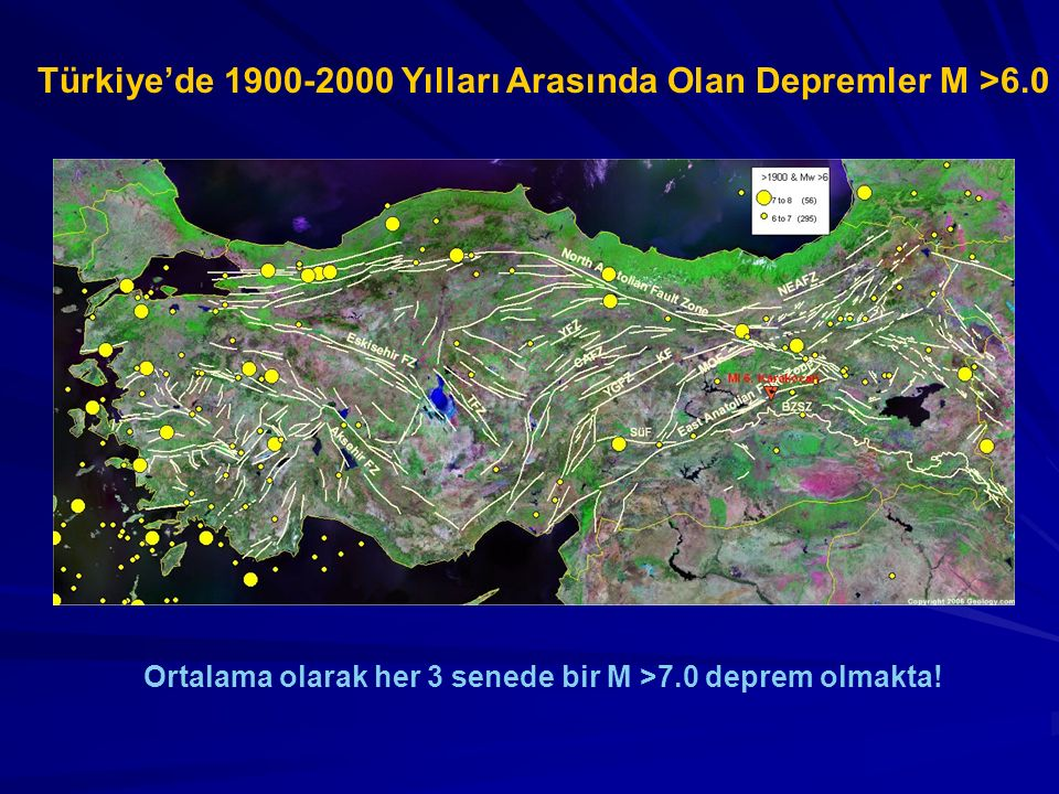 Türkiye'de 1900-2000 Yılları Arasında Olan Depremler M >6.0