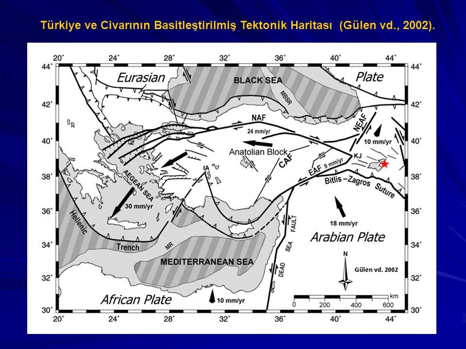 Türkiye ve Civarının Basitleştirilmiş Tektonik Haritası (Gülen vd