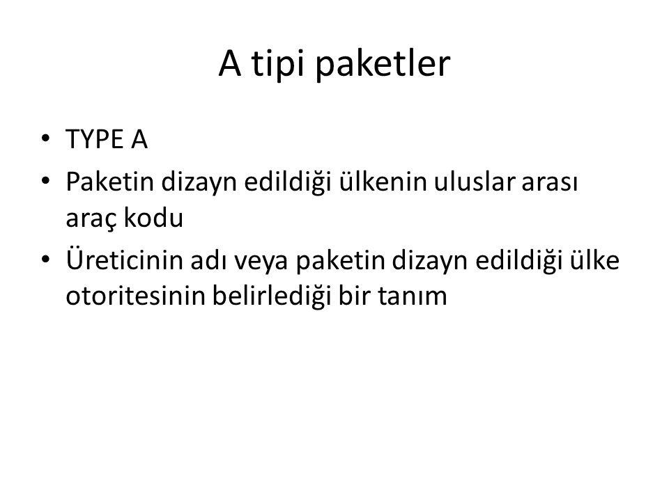 A tipi paketler TYPE A. Paketin dizayn edildiği ülkenin uluslar arası araç kodu.