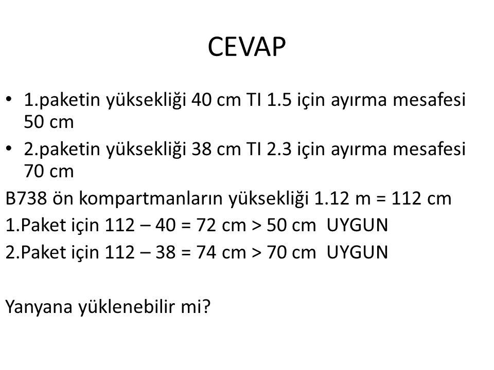 CEVAP 1.paketin yüksekliği 40 cm TI 1.5 için ayırma mesafesi 50 cm