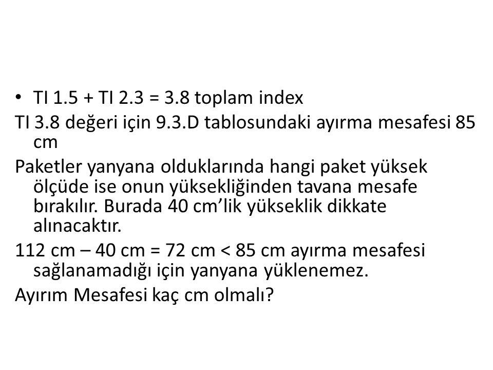 TI 1.5 + TI 2.3 = 3.8 toplam index TI 3.8 değeri için 9.3.D tablosundaki ayırma mesafesi 85 cm.
