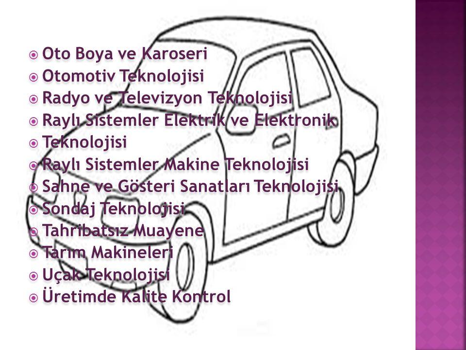 Oto Boya ve Karoseri Otomotiv Teknolojisi. Radyo ve Televizyon Teknolojisi. Raylı Sistemler Elektrik ve Elektronik.