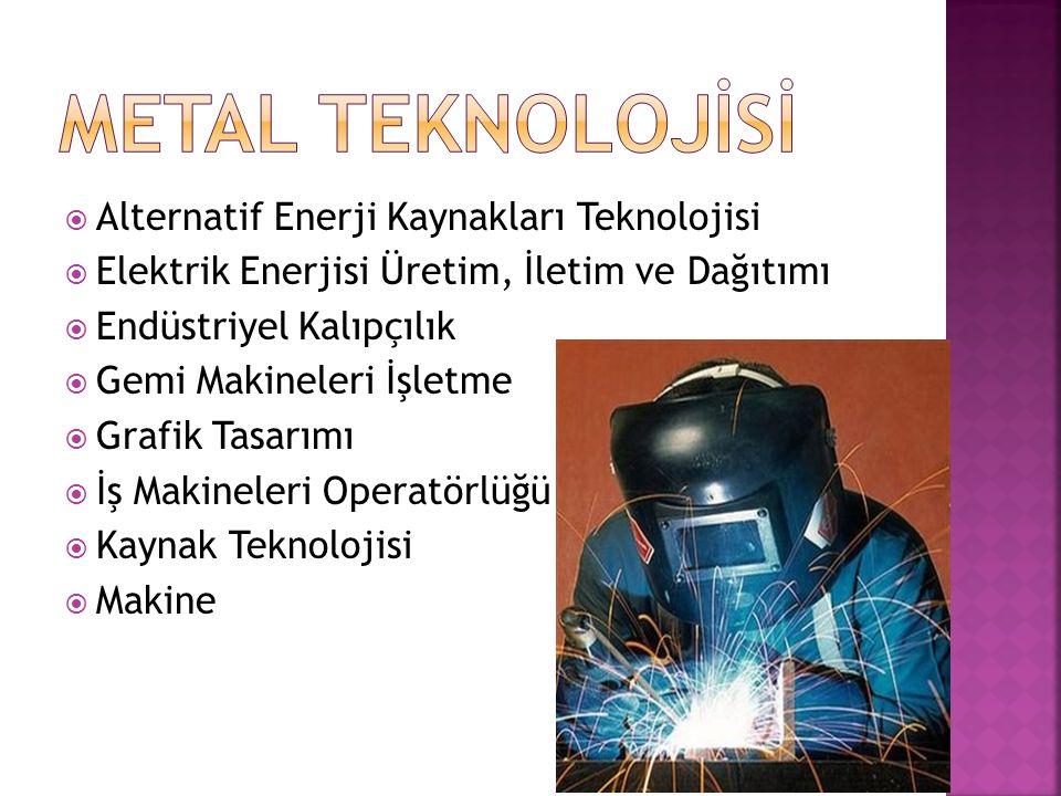METAL TEKNOLOJİSİ Alternatif Enerji Kaynakları Teknolojisi