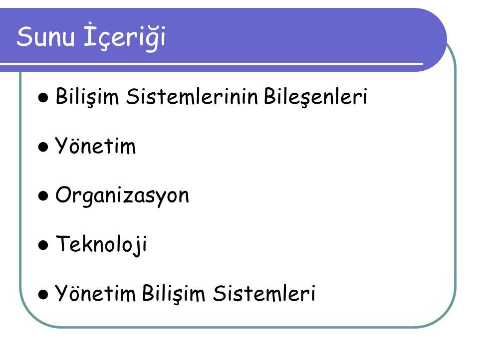 Sunu İçeriği Bilişim Sistemlerinin Bileşenleri Yönetim Organizasyon