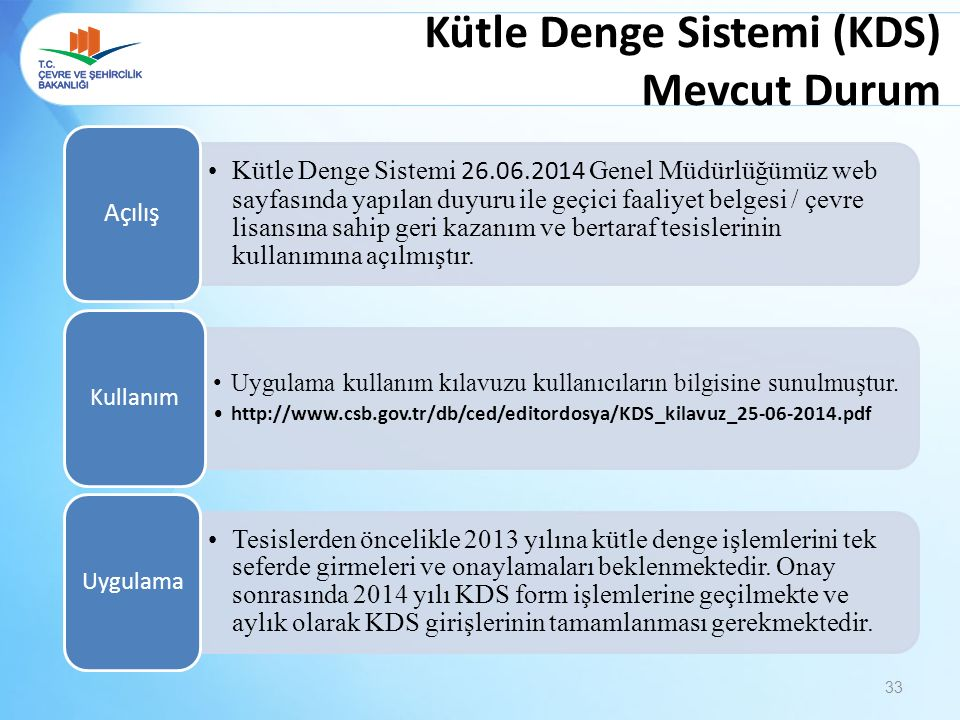 Kütle Denge Sistemi (KDS) Mevcut Durum