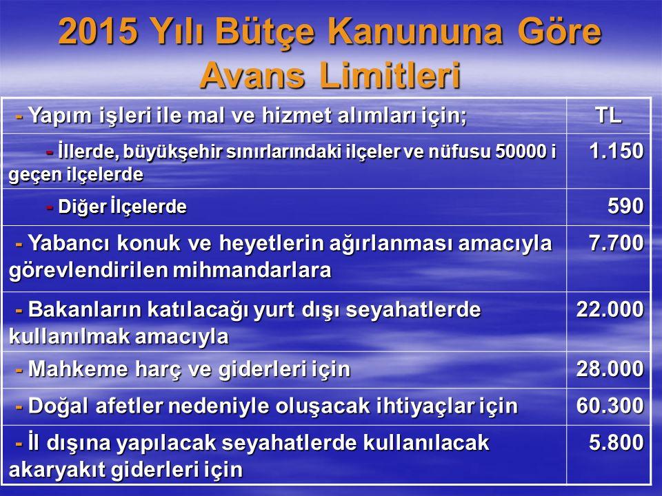 2015 Yılı Bütçe Kanununa Göre Avans Limitleri