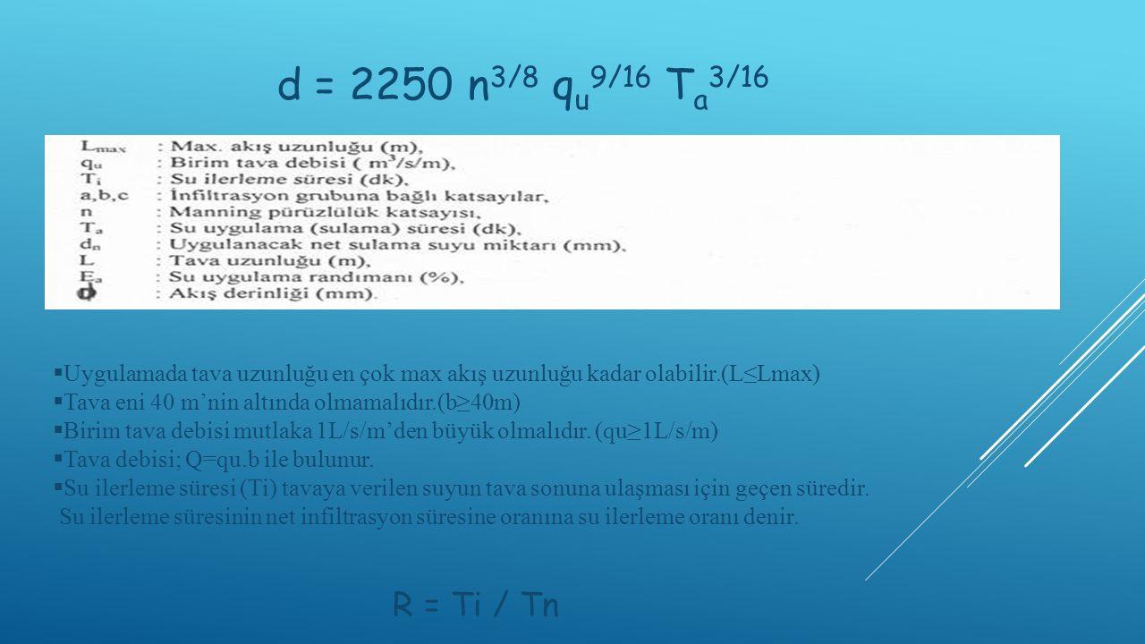 d = 2250 n3/8 qu9/16 Ta3/16 Uygulamada tava uzunluğu en çok max akış uzunluğu kadar olabilir.(L≤Lmax)