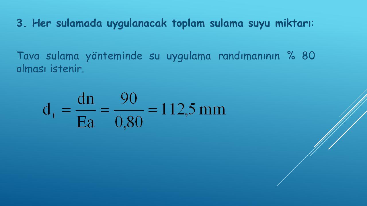 3. Her sulamada uygulanacak toplam sulama suyu miktarı: