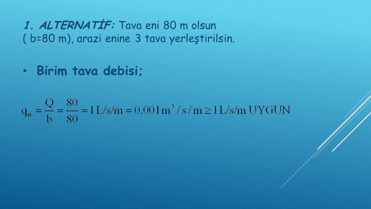 1. ALTERNATİF: Tava eni 80 m olsun ( b=80 m), arazi enine 3 tava yerleştirilsin.