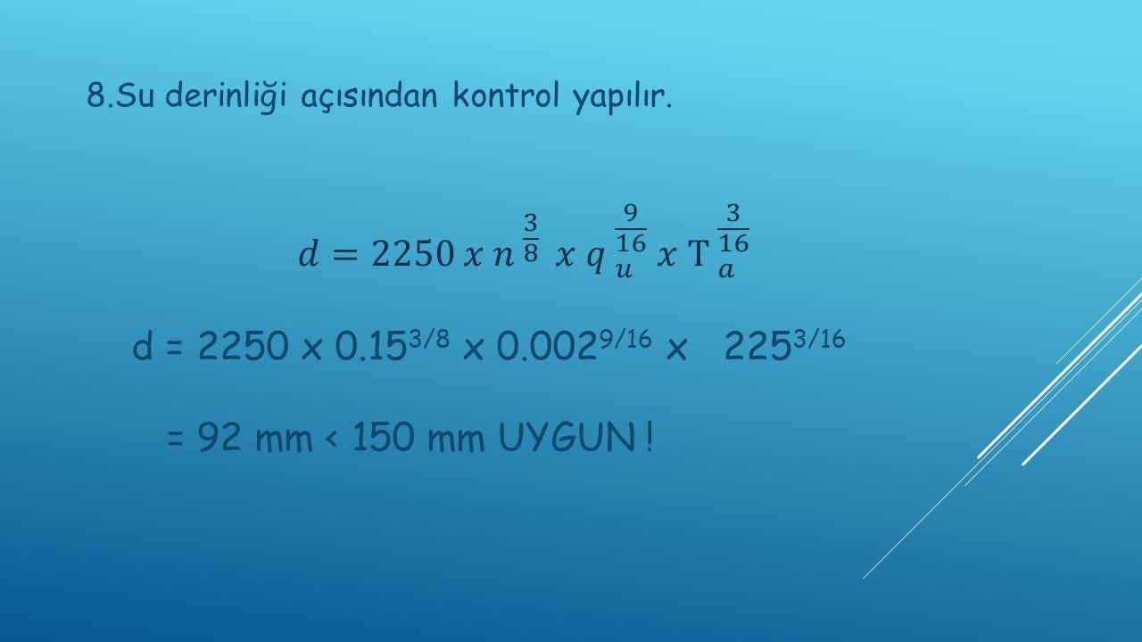 8.Su derinliği açısından kontrol yapılır.