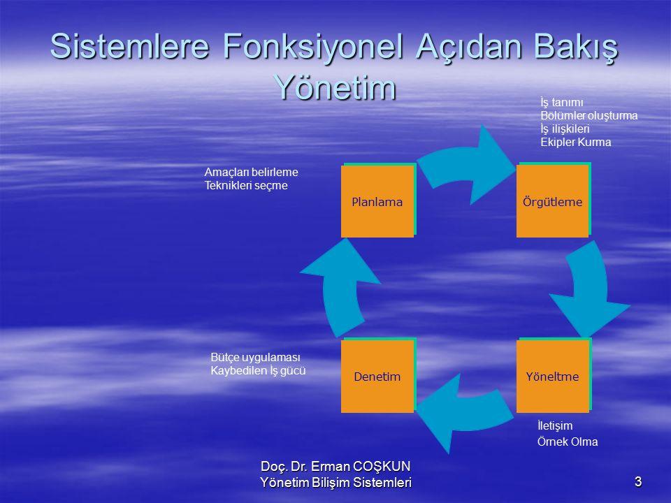 Sistemlere Fonksiyonel Açıdan Bakış Yönetim