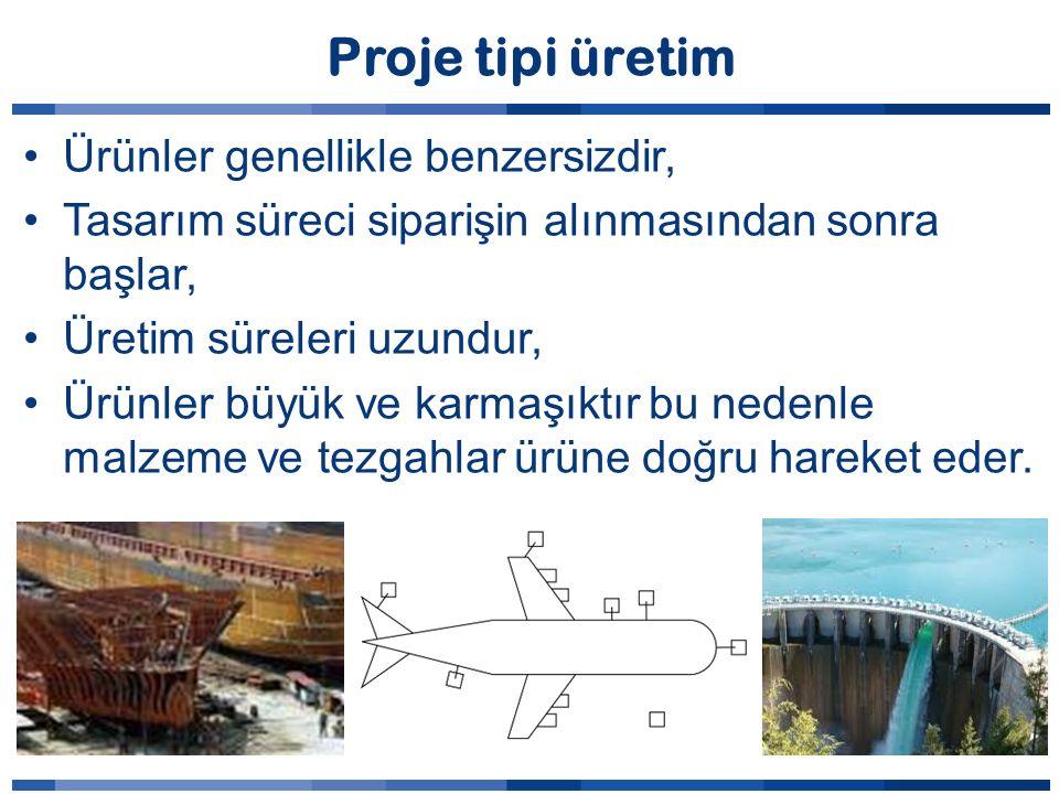 Proje tipi üretim Ürünler genellikle benzersizdir,